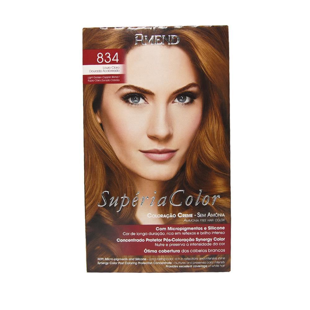 Amend Supéria Color 834 Louro Claro Dourado Acobreado -