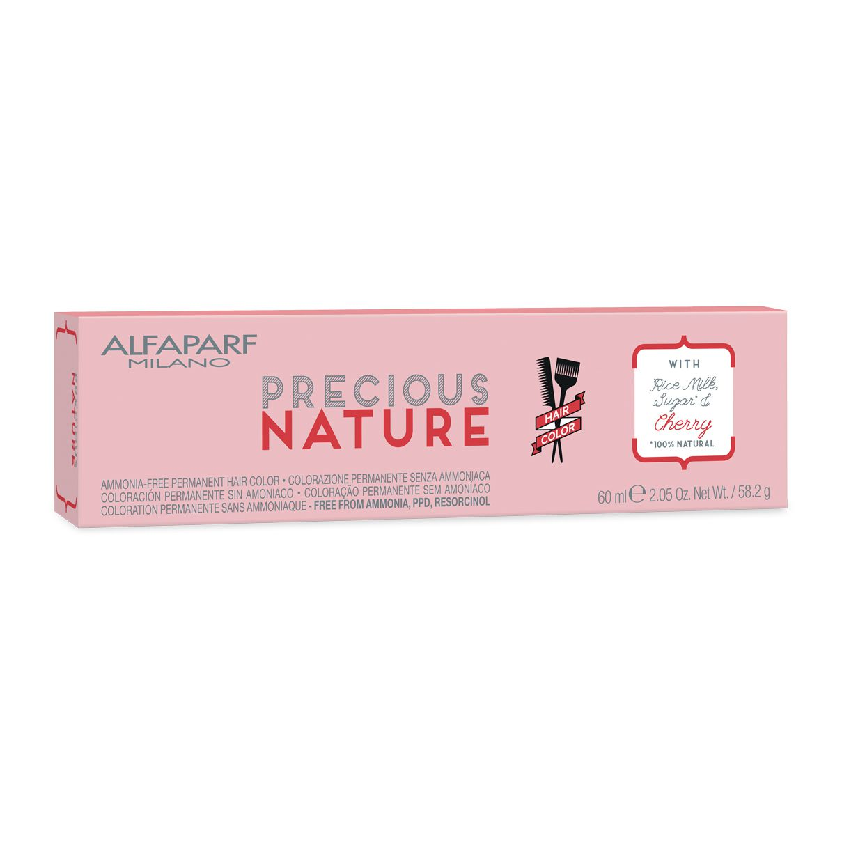 Alfaparf Milano Precious Nature Hair Color Creme de Coloração 7.4 Louro Médio Cobre 60ml