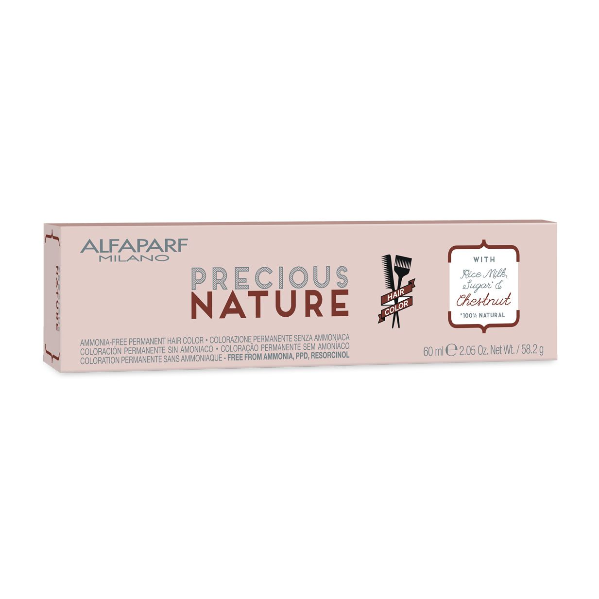 Alfaparf Milano Precious Nature Hair Color Natural Creme de Coloração 7NI Louro Médio Intenso 60ml