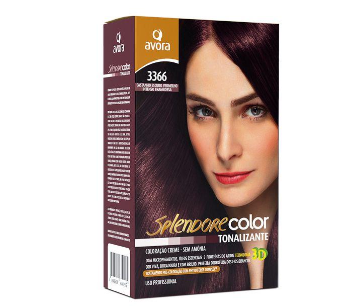 Avora Splendore Color Creme Tonalizante Sem Amônia 3366 Castanho Escuro Vermelho Intenso Framboesa
