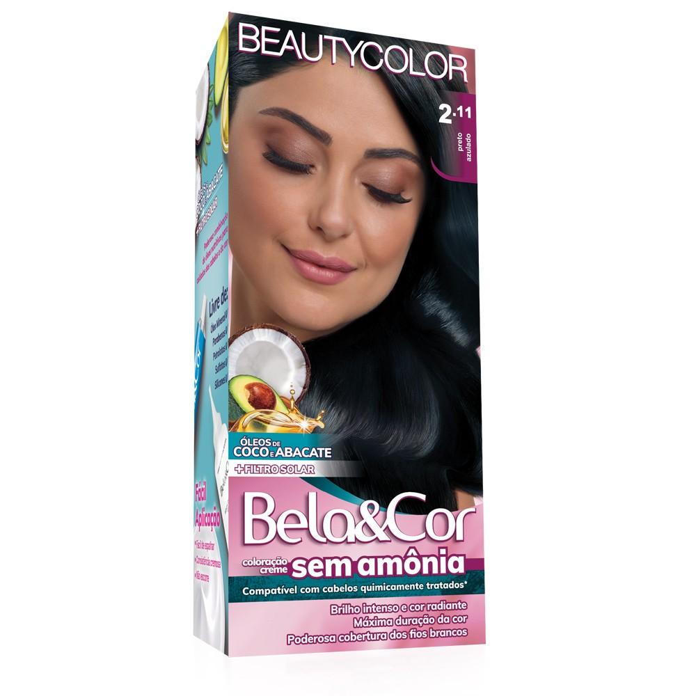 Bela&Cor Kit Coloração Sem Amônia 2.11 Preto Azulado