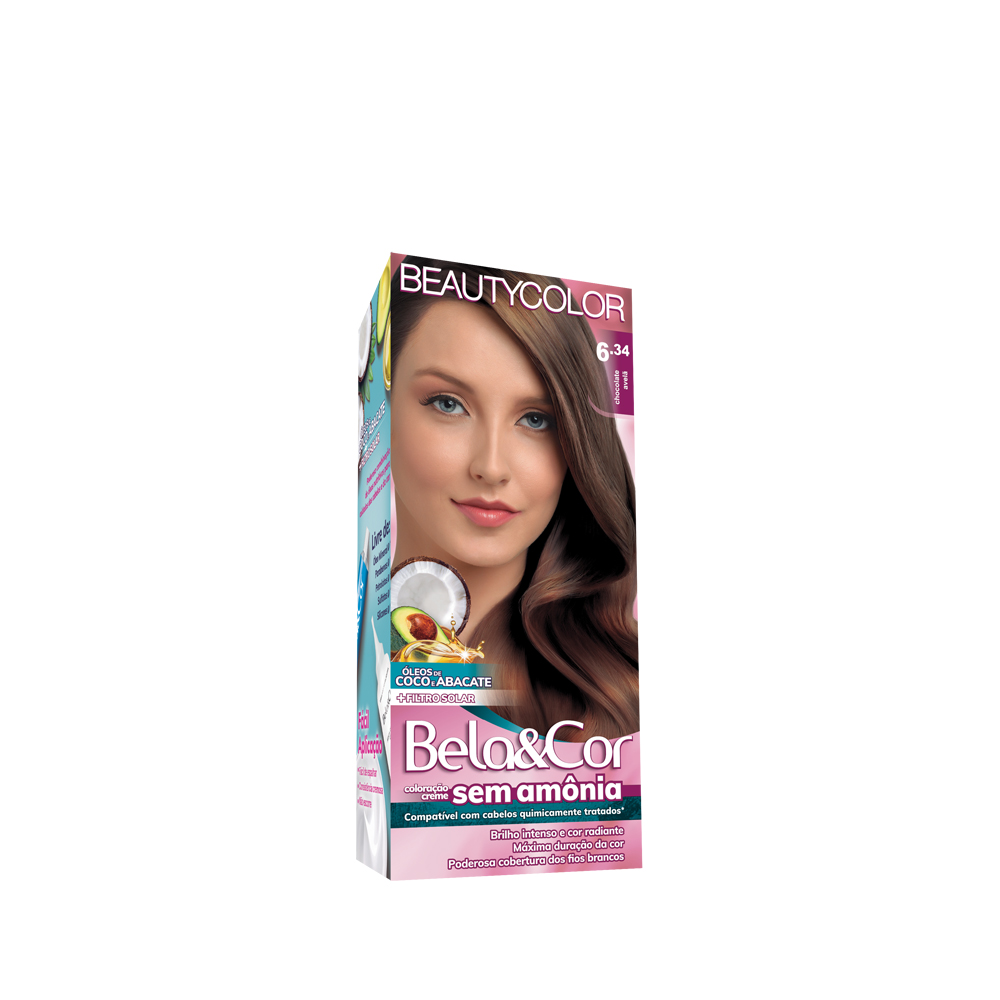 Bela&Cor Kit Coloração Sem Amônia 6.34 Chocolate Avelã