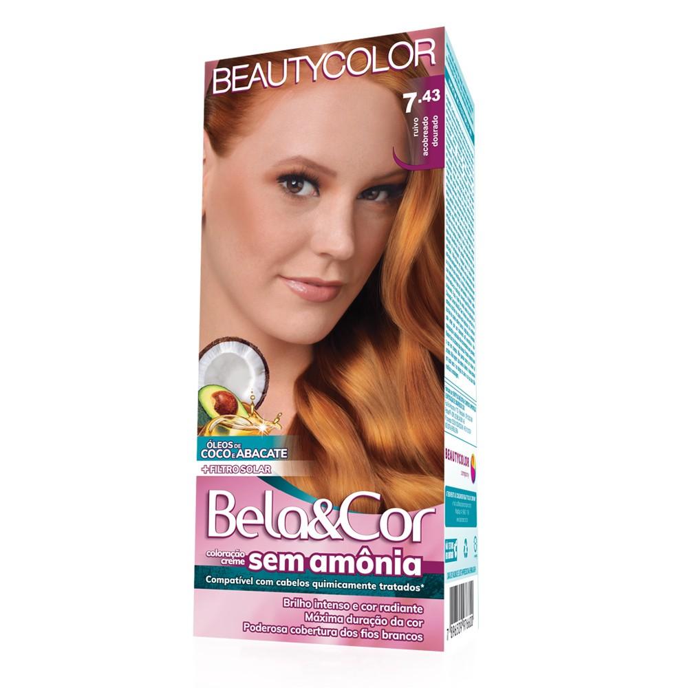 Bela&Cor Kit Coloração Sem Amônia 7.43 Ruivo Acobreado Dourado