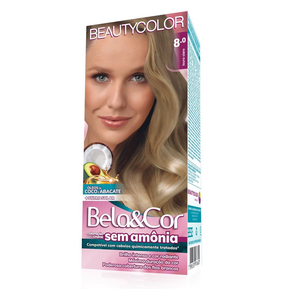 Bela&Cor Kit Coloração Sem Amônia 8.0 Louro Claro