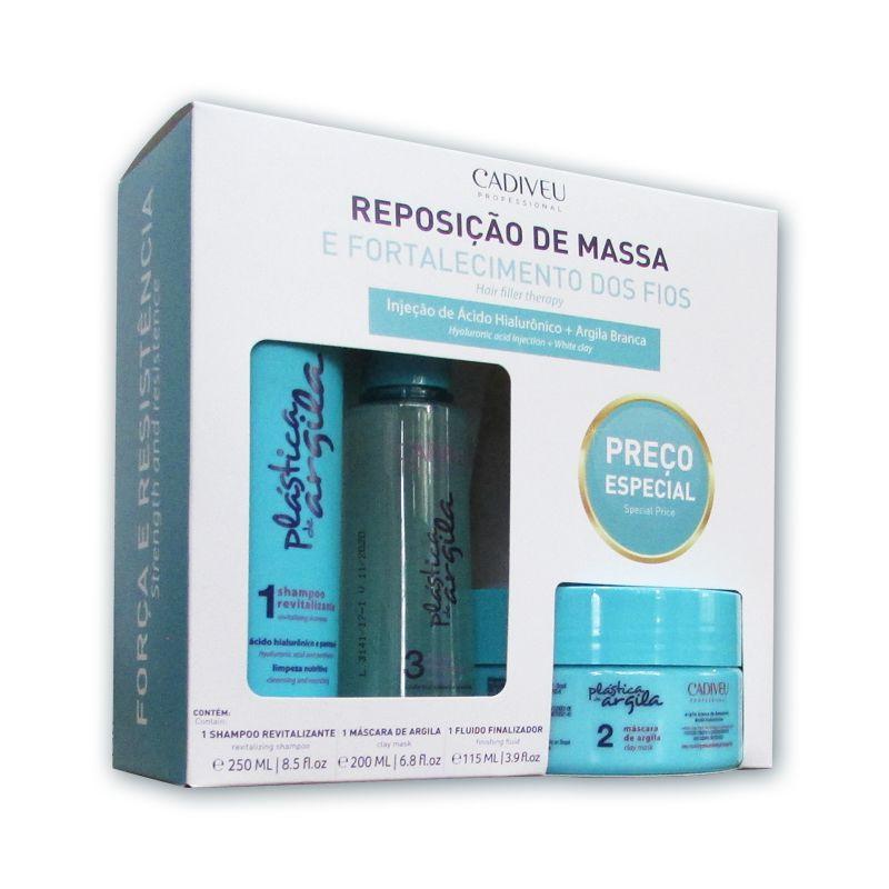 Kit Cadiveu Plástica de Argila Reposição de Massa - Shampoo, Máscara e Fluído