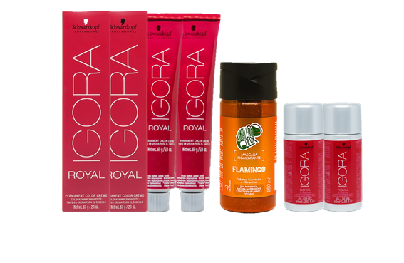 Kit Igora Royal 8.77, Igora Royal 9.7, Água Oxigenada 20vol e Kamaleão Flamingo