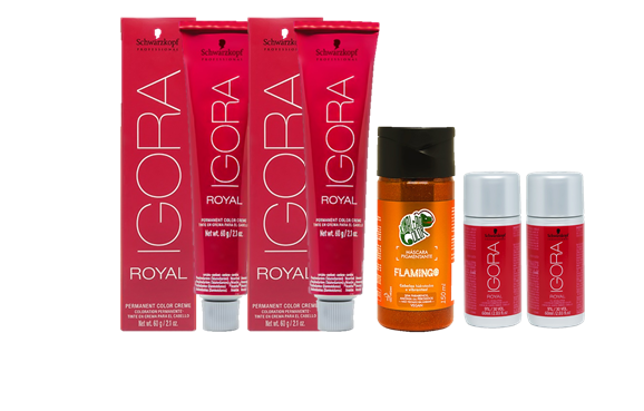 Kit Igora Royal 8.77, Água Oxigenada 30vol e Kamaleão Flamingo