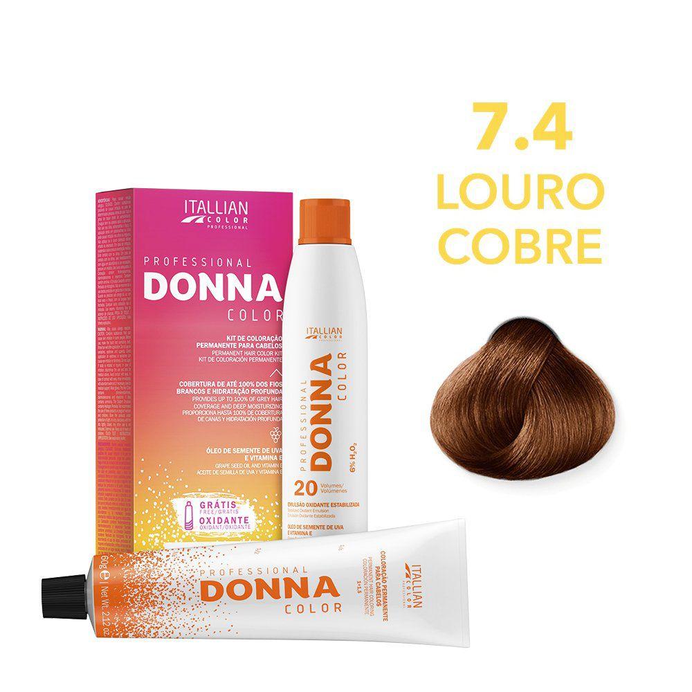 Donna Color Kit Coloração 7.4 Louro Cobre