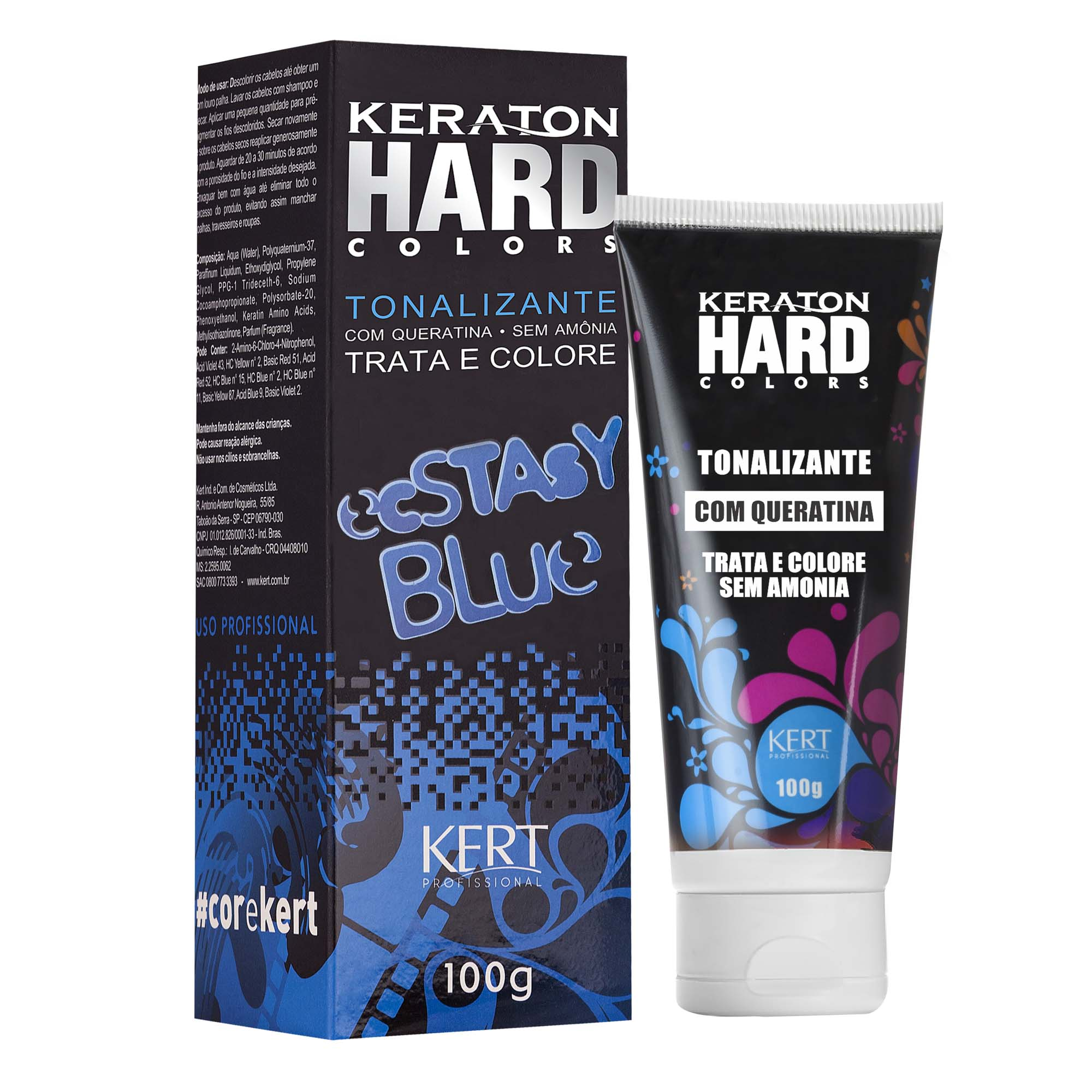 Kert Keraton Hard Colors Tonalizante Cor Ecstasy Blue - 100g