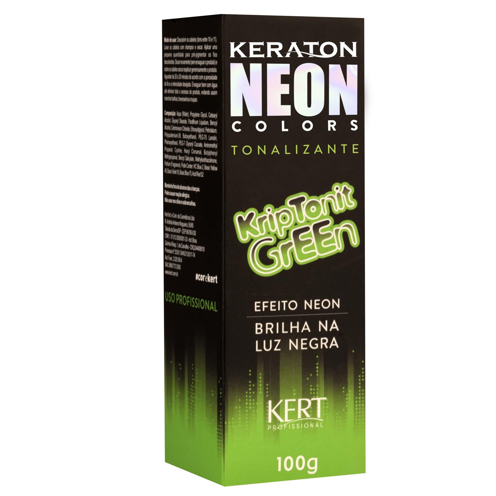 Kert Keraton Neon Colors Tonalizante Cor KripTonit Green - 100g