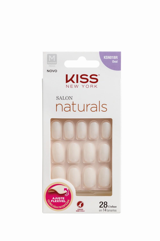 Kiss New York Unhas Postiças Salon Naturals Médio Oval