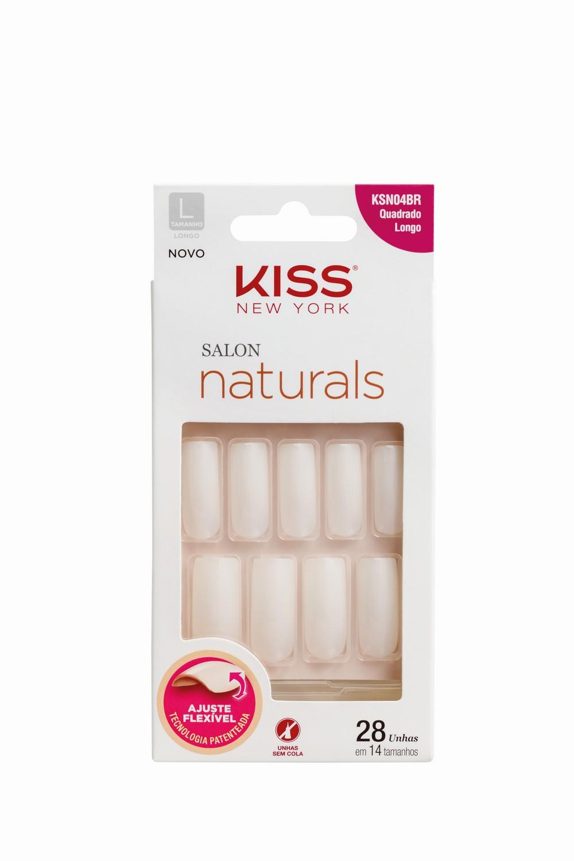Kiss New York Unhas Postiças Salon Naturals Quadrado Longo
