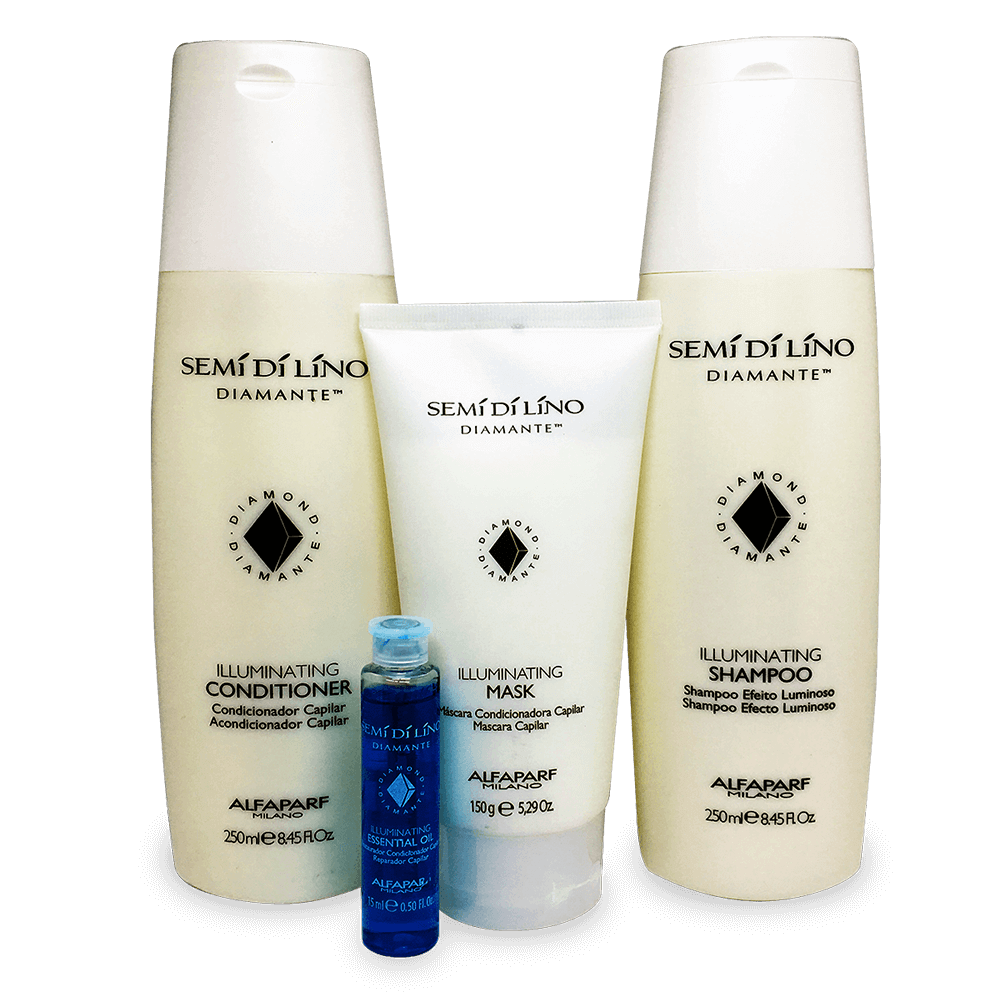 Kit Alfaparf Semi Di Lino Diamante Illuminating - Shampoo, Condicionador, Máscara e Ampola Azul