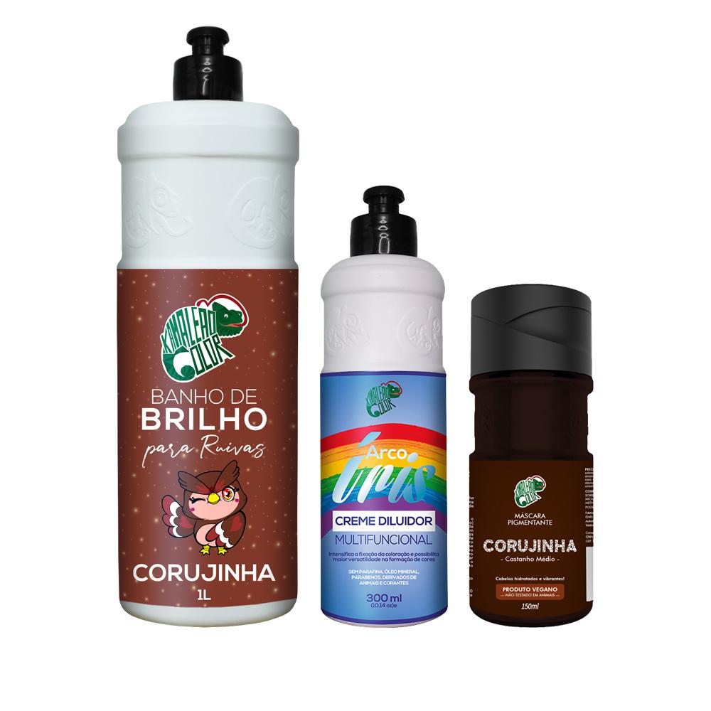 Kit Banho de Brilho Corujinha 1L + Corujinha 150ml + Creme Diluidor 300ml