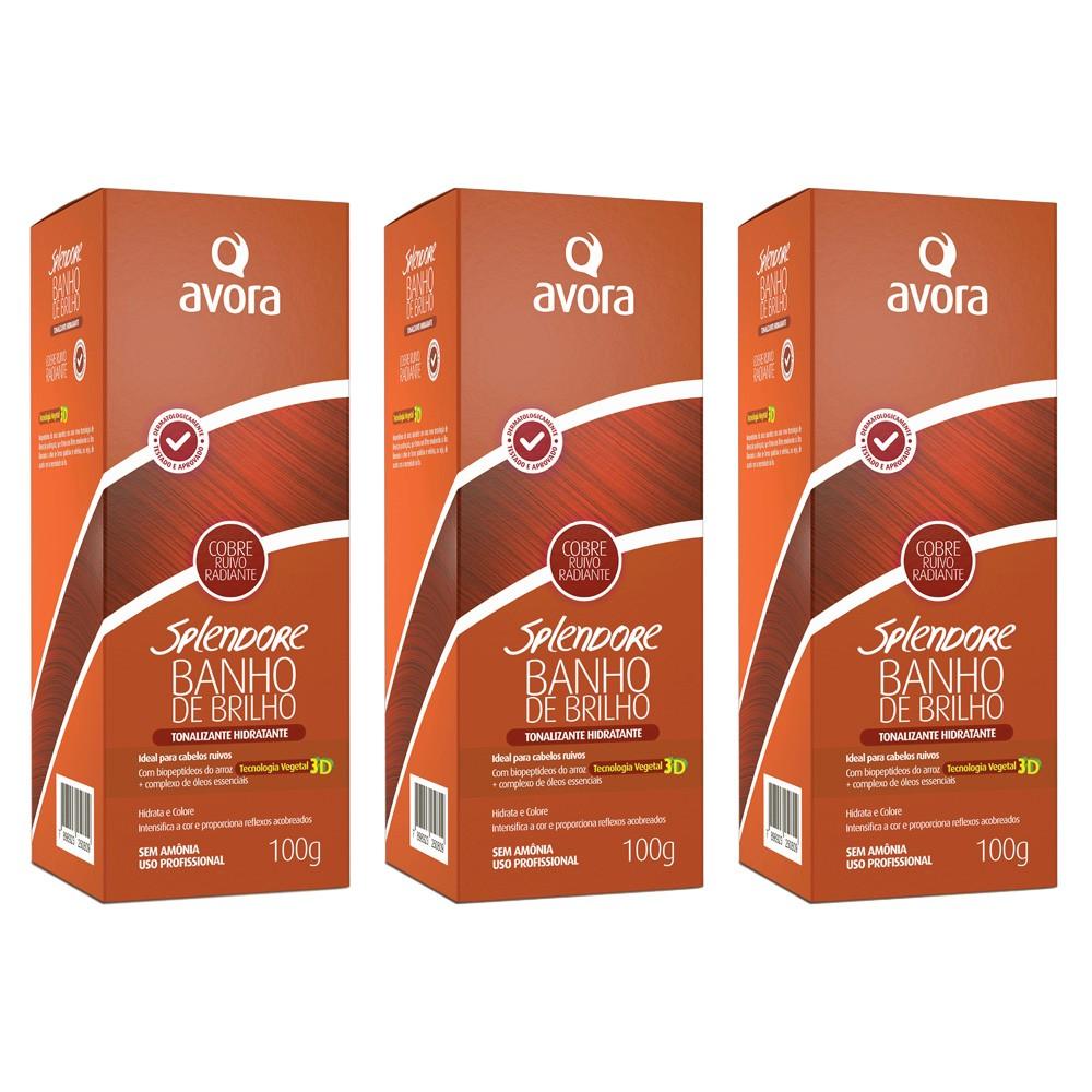 Kit Banho de Brilho Ruivo Radiante Cobre - 03 Unidades