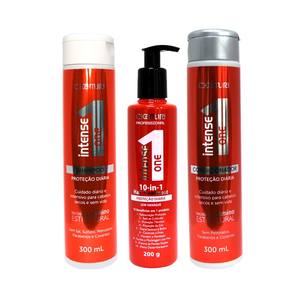 Kit C.Kamura Intense One - Shampoo, Condicionador e Leave-In 10 in 1