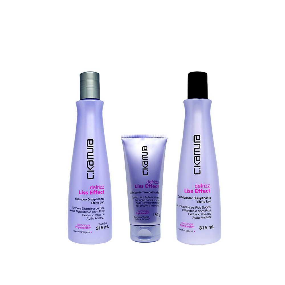 Kit C.Kamura Liss Effect Shampoo, Condicionador e Defrizante
