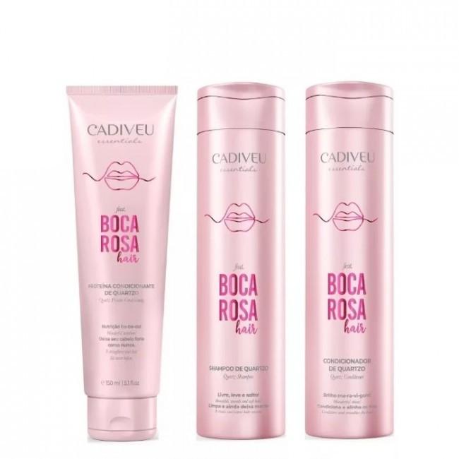 Kit Cadiveu Boca Rosa Hair Shampoo, Condicionador e Proteína