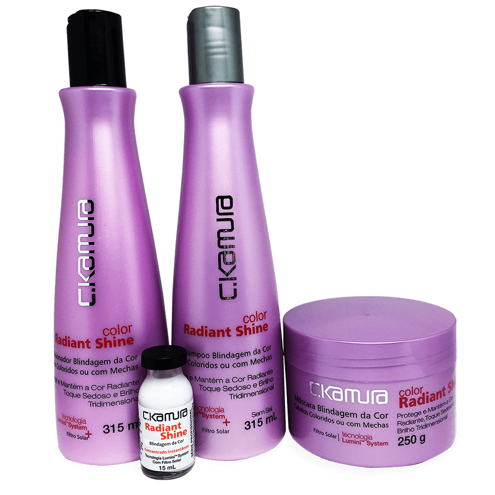 Kit CKamura Color Radiant Shine - Shampoo, Condicionador, Mascara  Superdose Gratis