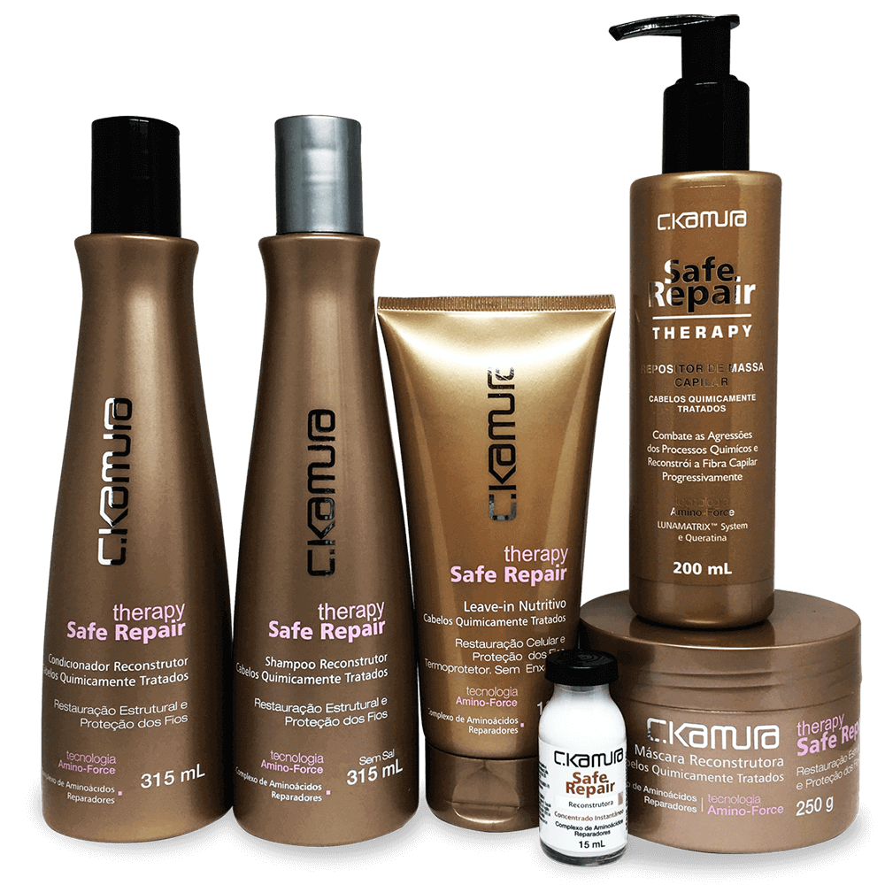 Kit CKamura Therapy Safe Repair - Shampoo, Condicionador, Leave-In, Mascara, Repositor de Massa  Superdose Gratis