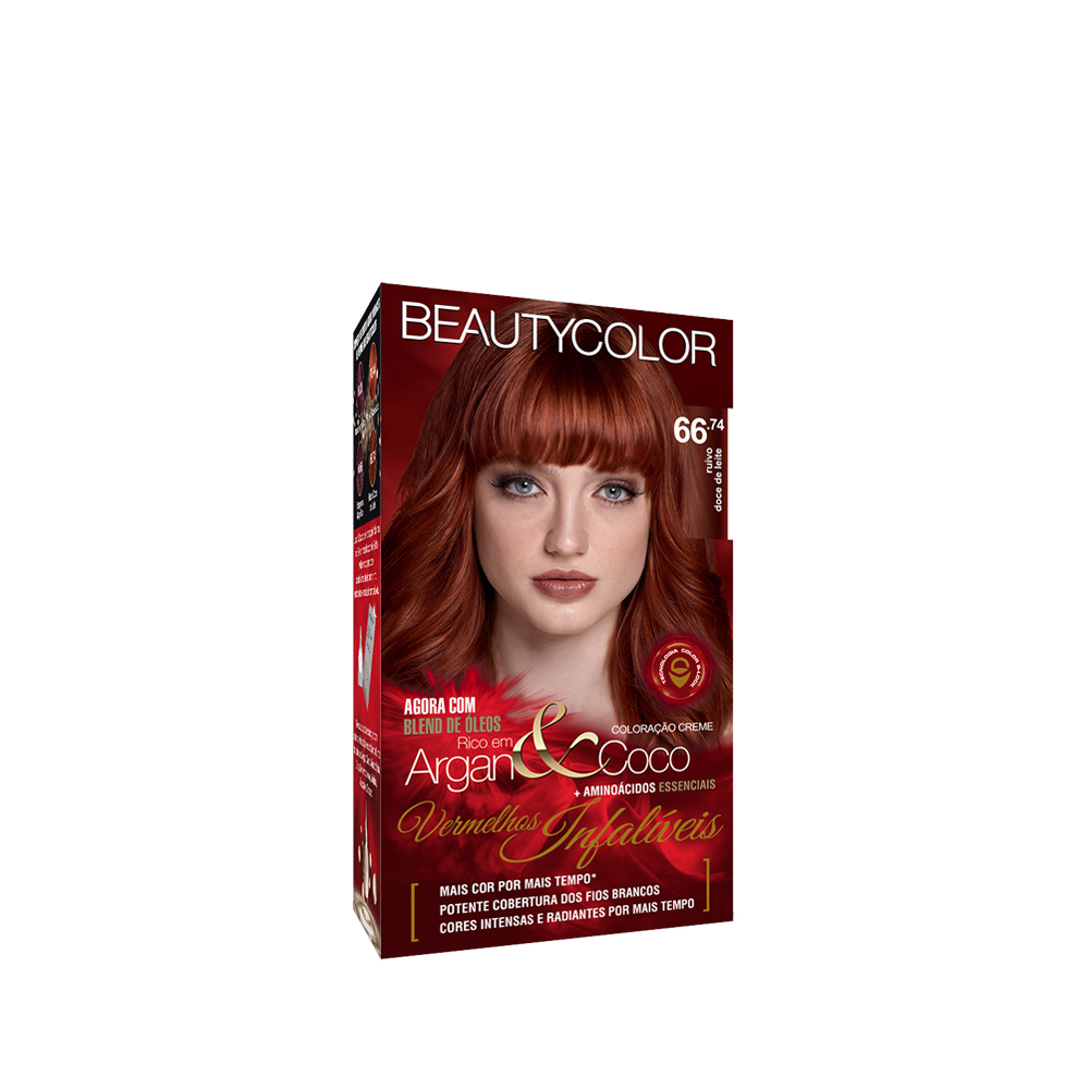 Kit Coloração Beauty Color 66.74 - Ruivo Doce de Leite