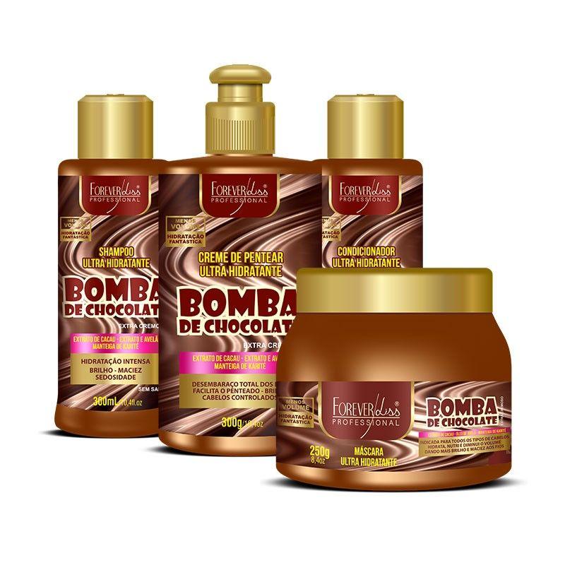 Kit Forever Liss Bomba de Chocolate - Shampoo, Condicionador, Creme de Pentear e Mascara