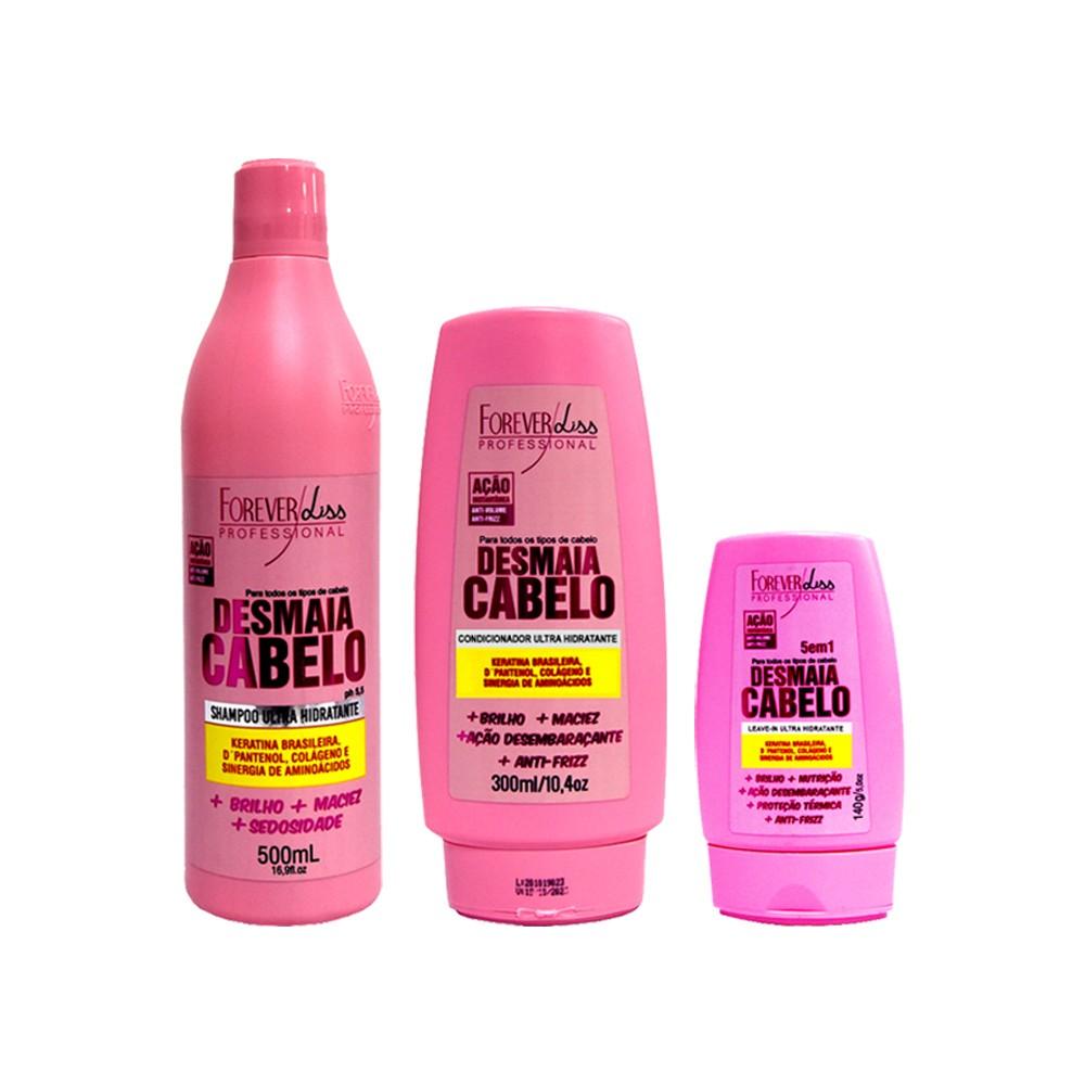 Kit Forever Liss Shampoo, Condicionador e Leave-in Desmaia Cabelo