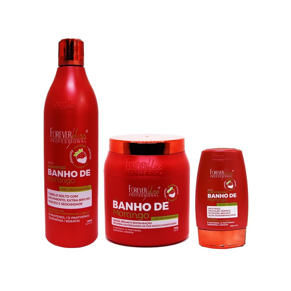 Kit Forever Liss Shampoo, Leave-in e Máscara 1000g Banho de Morango