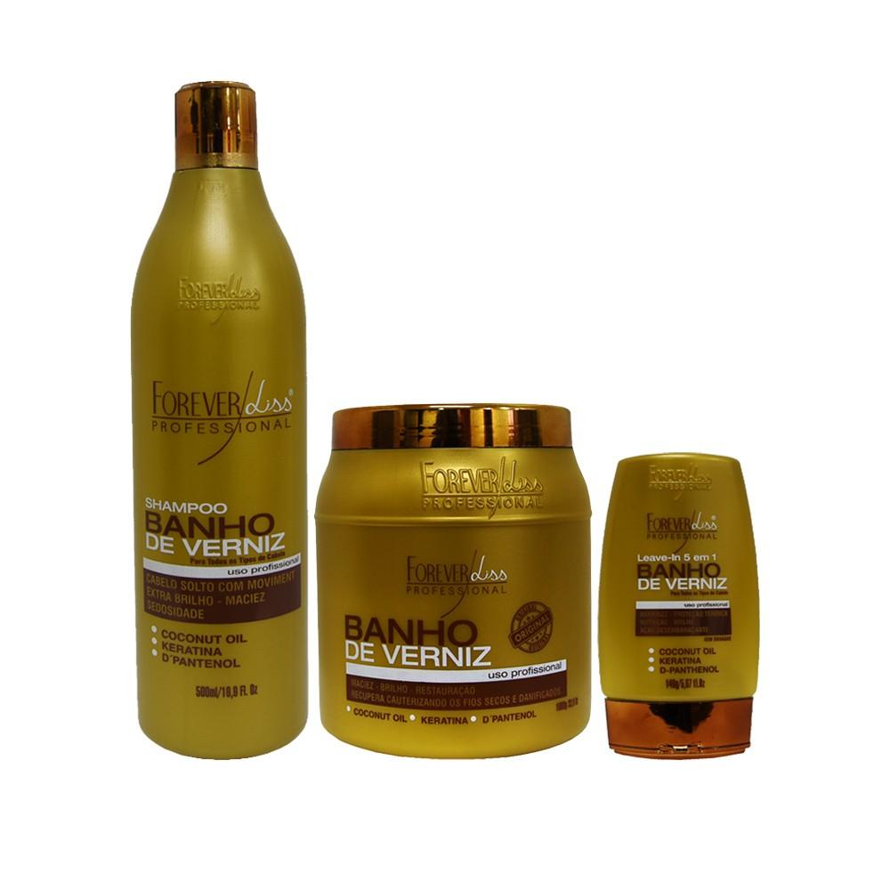 Kit Forever Liss Shampoo, Leave-in e Máscara 1000g Banho de Verniz