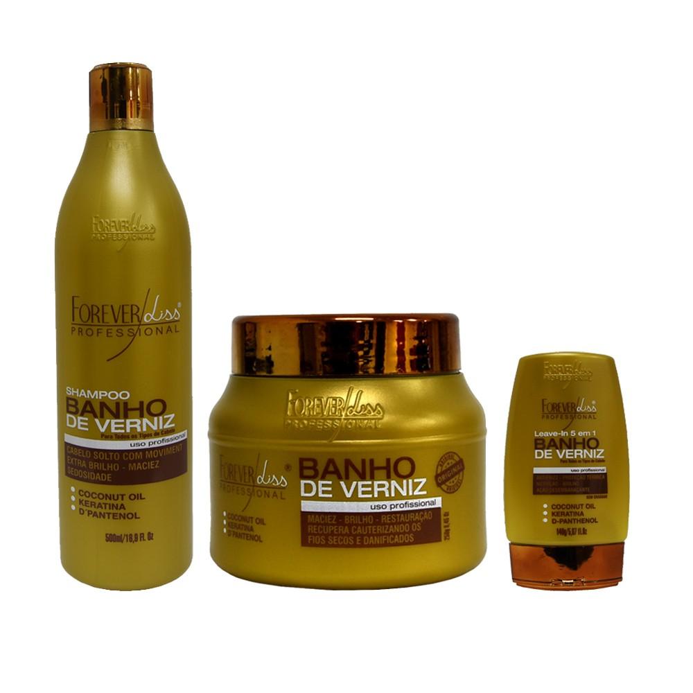 Kit Forever Liss Shampoo, Leave-in e Máscara 250g Banho de Verniz