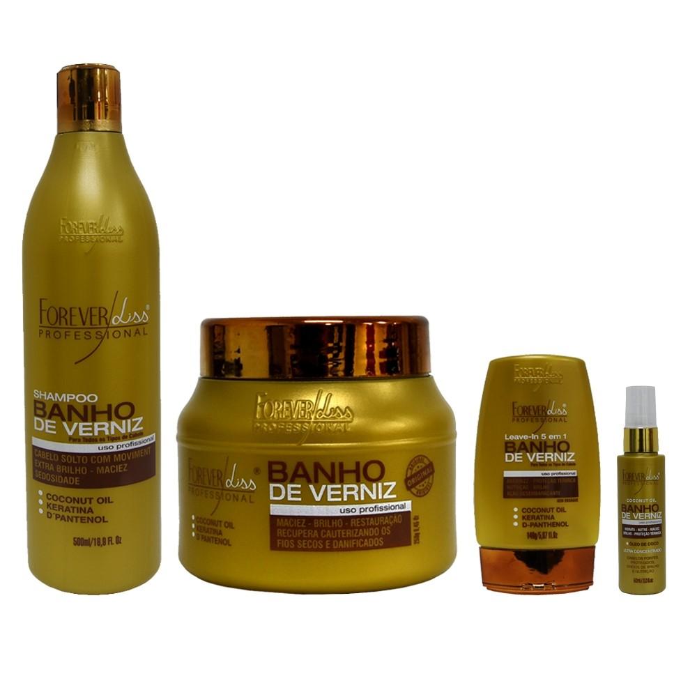 Kit Forever Liss Shampoo, Leave-in, Óleo e Máscara 250g Mascara de Verniz