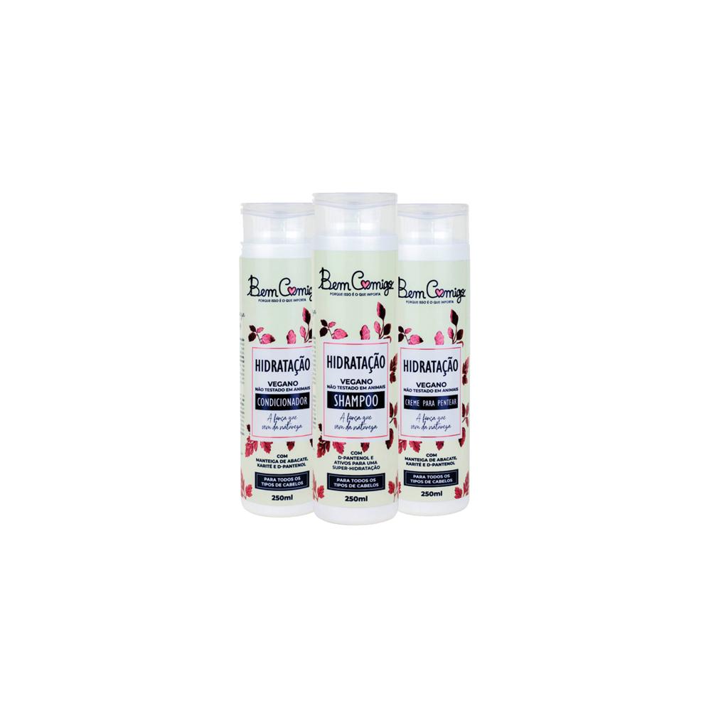 Kit Hidratação Bem Comigo 3 (Shampoo, Condicionador e Creme de Pentear)