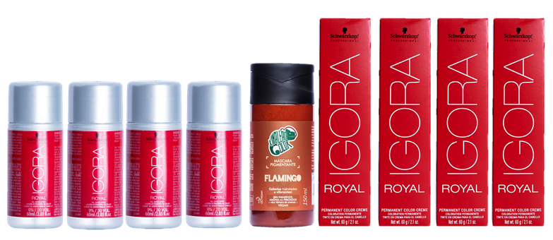 Kit Igora 8.77 e 9.7, Água Oxigenada 30vol, 20 vol e Tonalizante Flamingo 150ml