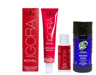 Kit Igora Royal 0.22 HD, Ox de 30vol e Tonalizante Kamaleão Arara Azul