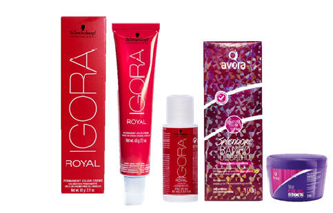 Kit Igora Royal 5.88 HD, Ox 30Vol, Avora Marsala Grape Wine e Avora Máscara Color Shock