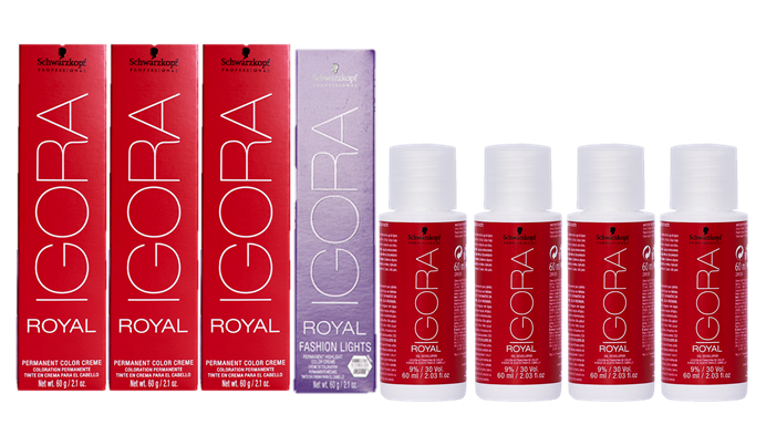 Kit Igora Royal  8.77, 0.77, L77, Ox 20Vol e Ox 30Vol