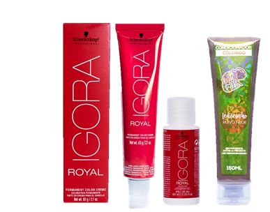 Kit Igora Royal 9,5-17 HD, Ox 30vol e Kamaleão Condicionador Leãozinho