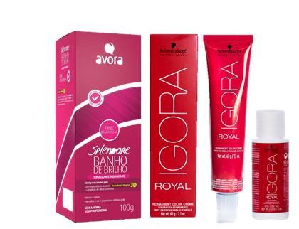 Kit Igora Royal 9,5-18 HD, Ox 30vol e Avora Banho de Brilho Pink Maravilha