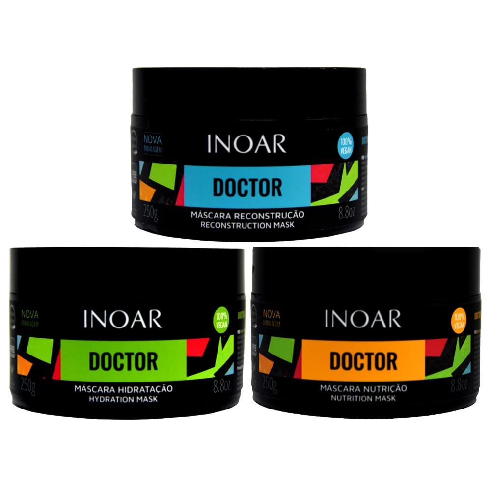 Kit Inoar Doctor - Hidratação, Nutrição e Reconstrução