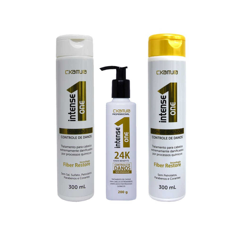 Kit Intense One 24k Shampoo, Condicionador e Leave-in