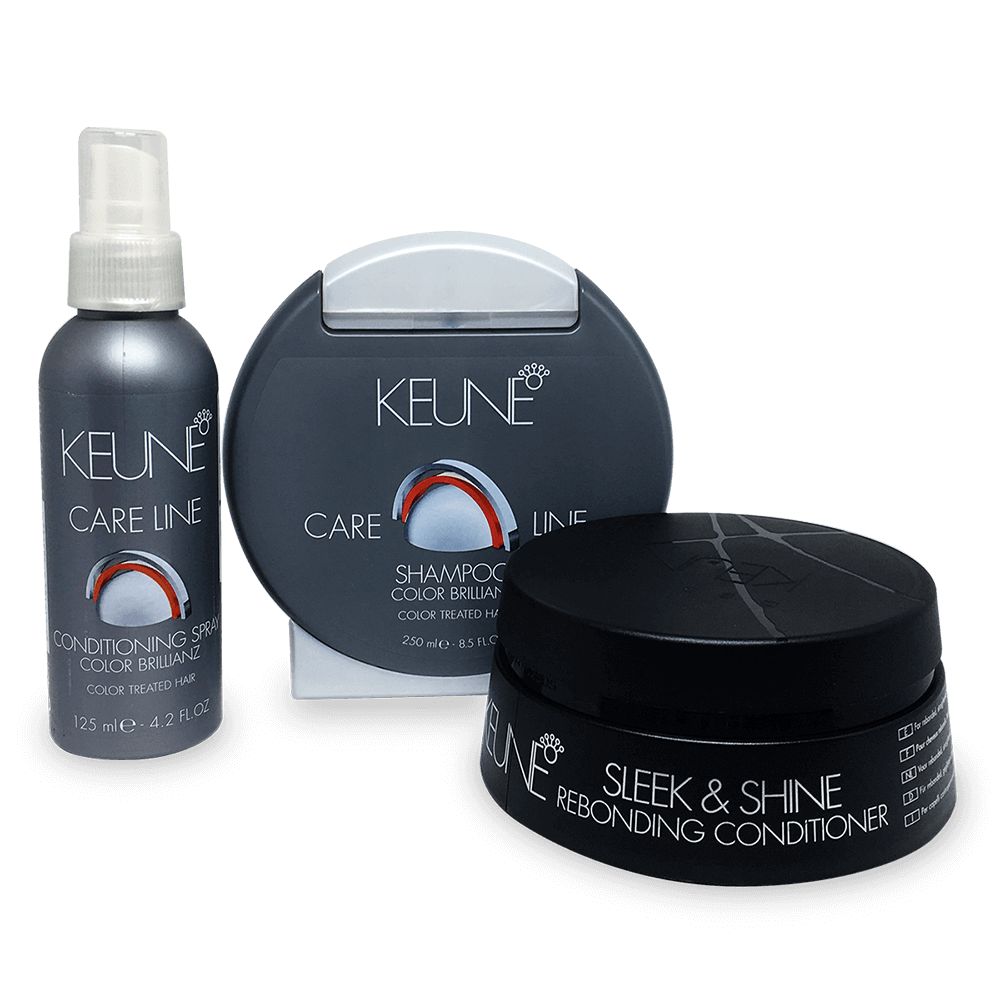 Kit Keune Color Brillianz e Sleek & Shine - Shampoo, Condicionador e Máscara Sleek & Shine