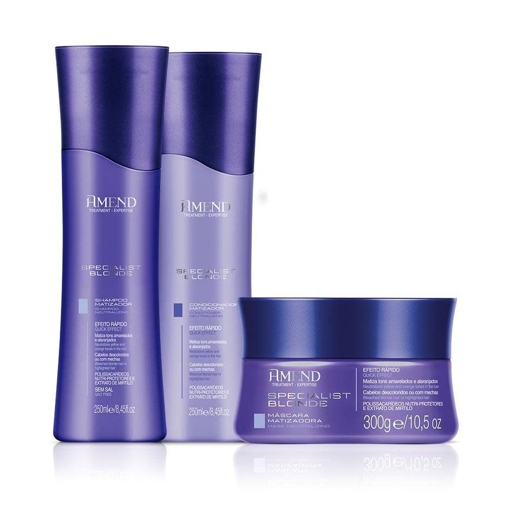 Kit Amend Matizador Specialist Blonde  - Shampoo, Condicionador e Máscara Matizadora