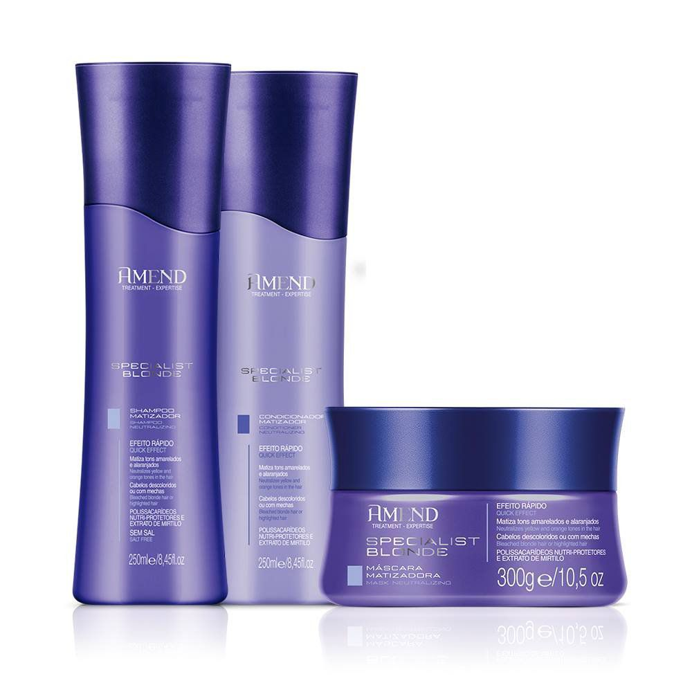 Kit Matizador Amend Specialist Blonde Shampoo Condicionador Máscara