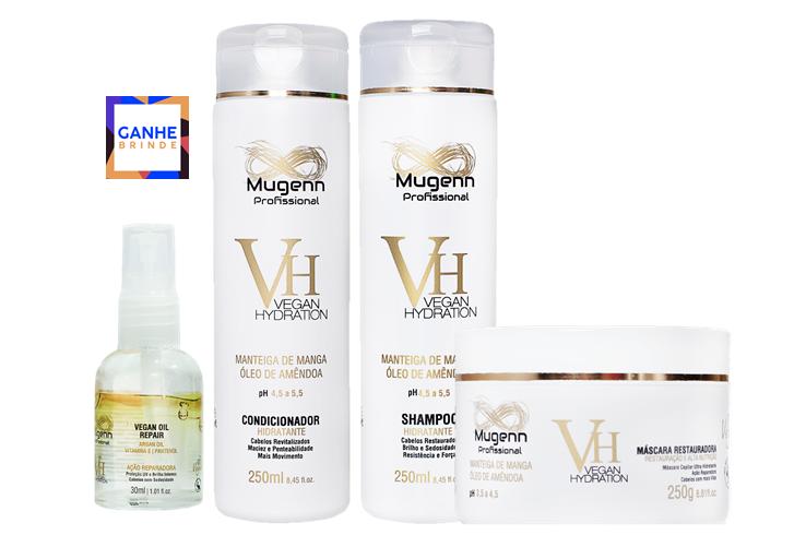Kit Mugenn - Shampoo, Condicionador e Máscara - Brinde Óleo 30ml