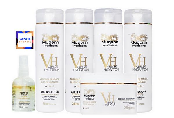 Kit Mugenn - Shampoo, Condicionador, Máscara, Reconstrutor, Acidificante e Leave-in - Grátis Óleo Argan - 60ml