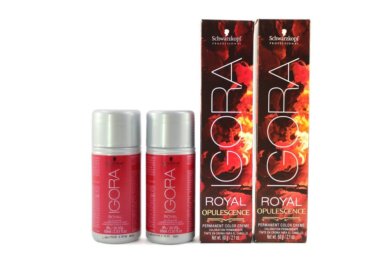 Kit Schwarzkopf Igora Royal Opulescence 7.48 e Água Oxigenada 30vol
