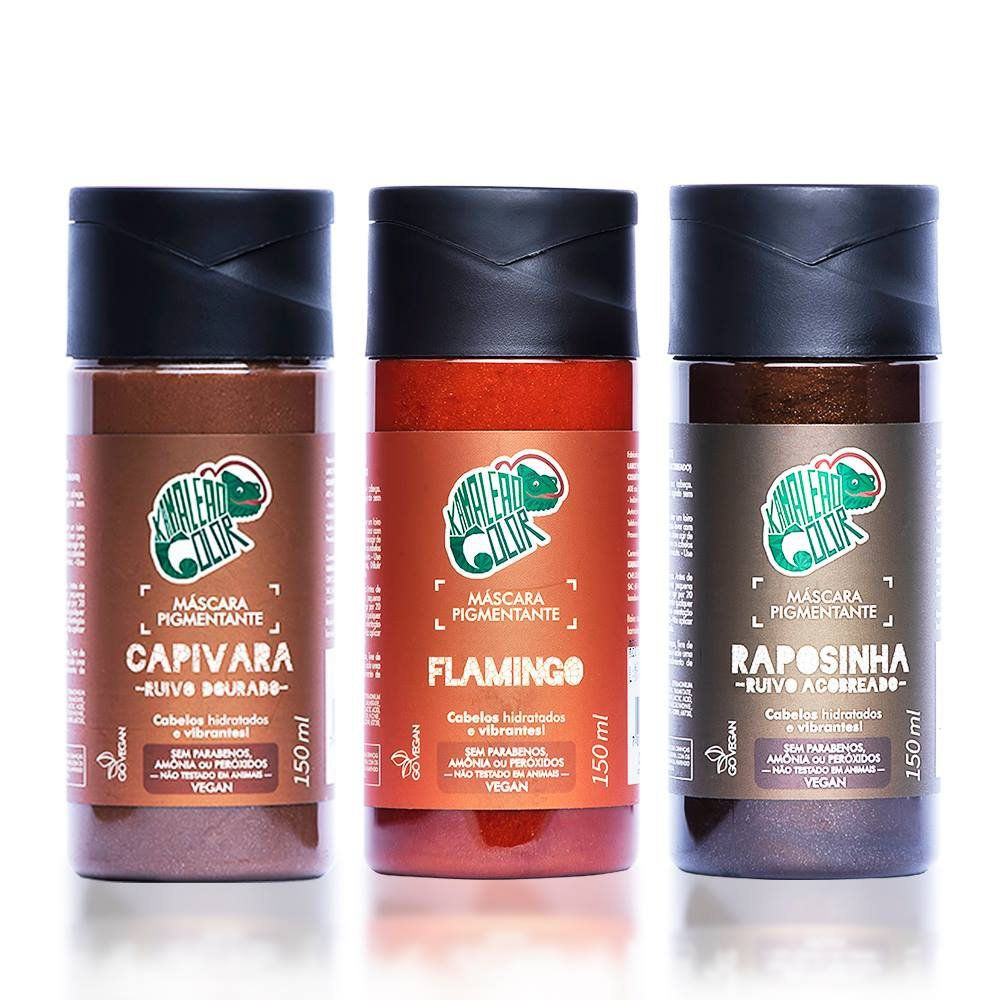 Kit Kamaleão Tonalizante Cor Raposinha 150ml, Cor Flamingo 150ml e Cor Capivara 150ml