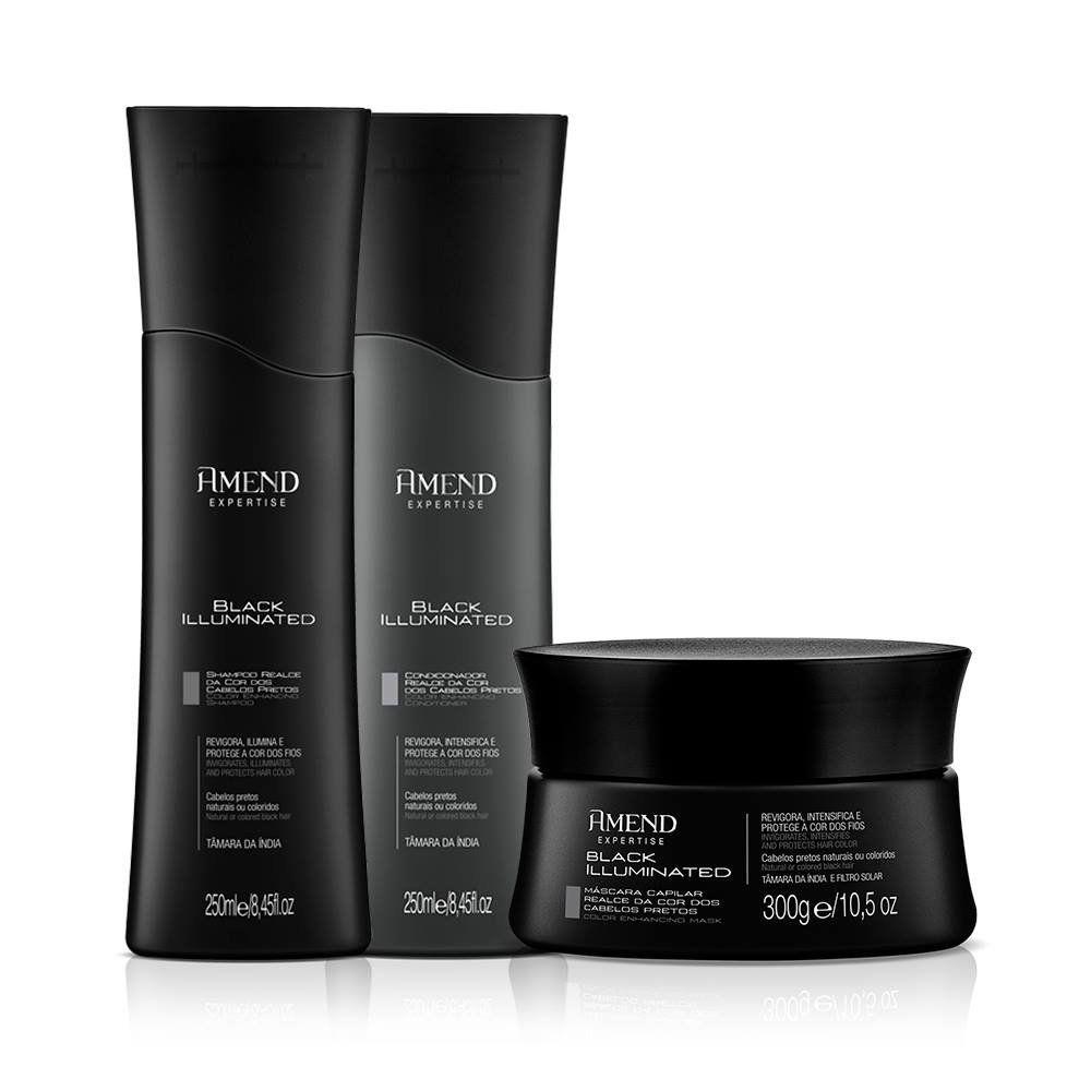 Kit Realce da Cor Black Illuminated Amend - Shampoo, Condicionador e Mascara de Tratamento