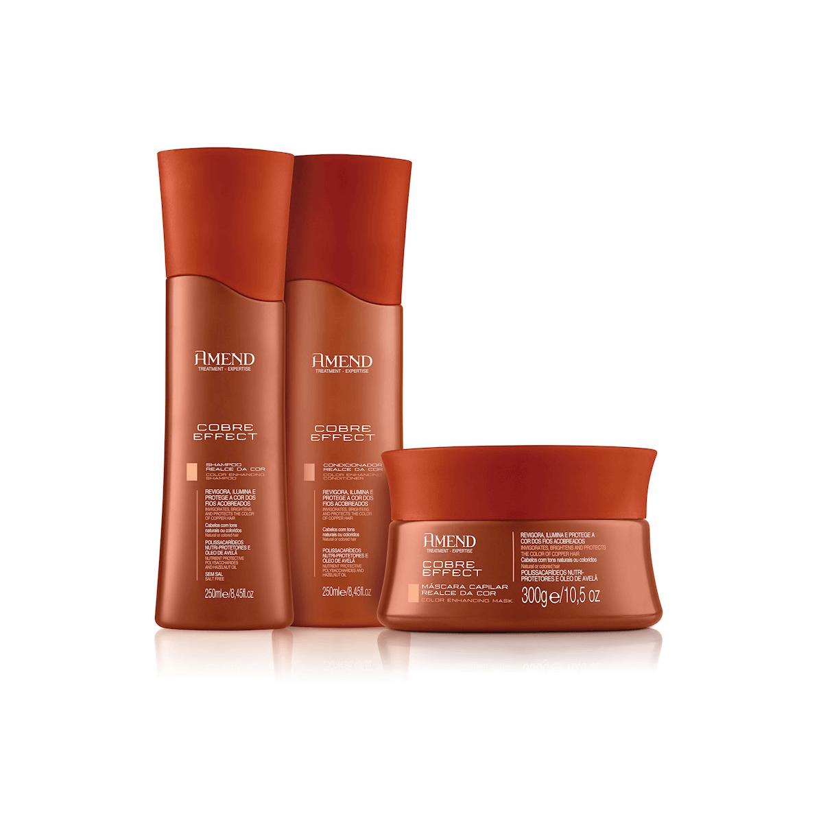 Kit Realce da Cor Cobre Effect Amend - Shampoo, Condicionador e Mascara de Tratamento