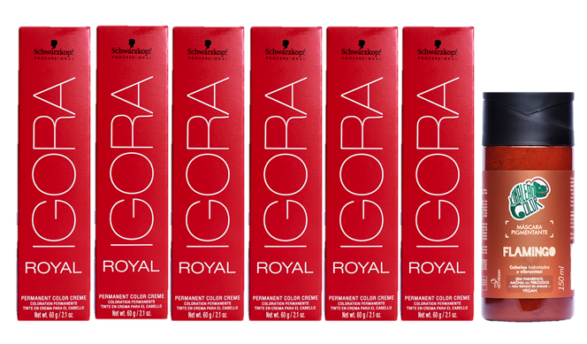 KIt Schwarzkopf Igora Royal HD 8.77, 9.7, 7.77 e Kamaleão Tonalizante Flamingo